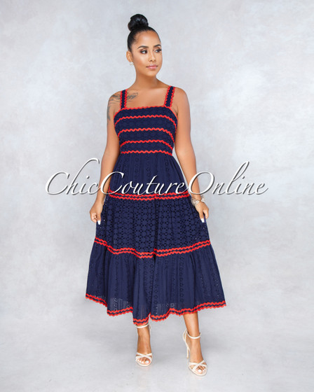 Hollywood Navy Blue Eyelet Orange Scallop Midi Dress