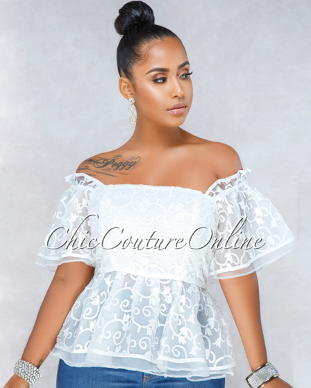 Dreaming Of You Off-White Tulle Embroidery Peplum Top