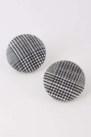 Candice Black & White Plaid Studs Earrings