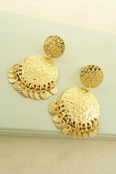 Hara Golden Fringe Dangle Hammered Earrings