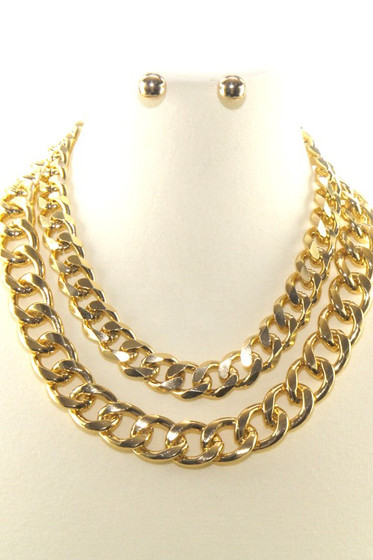 Silvie Double Chain Golden Statement Necklace