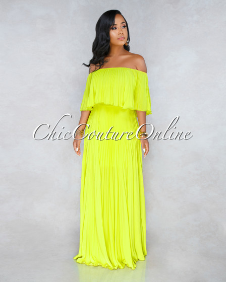 Buenos Aires Lime Green Pleated Luxe Maxi Dress