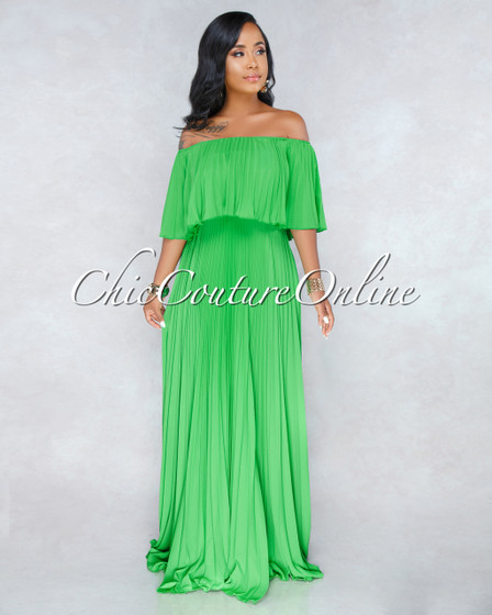 Buenos Aires Green Pleated Luxe Maxi Dress