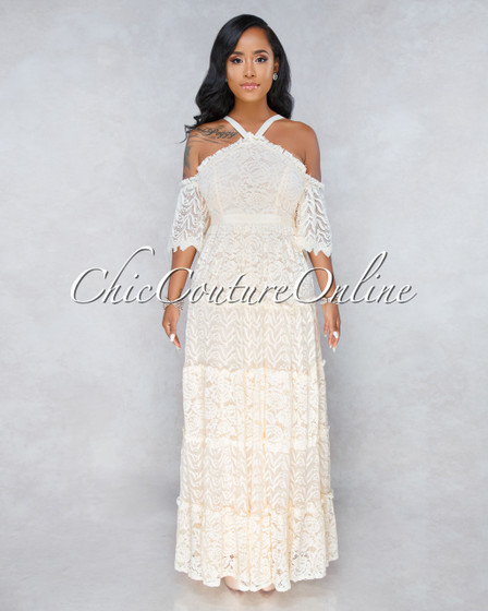 Sand Treasure Beige Luxe Lace Overlay Maxi Dress