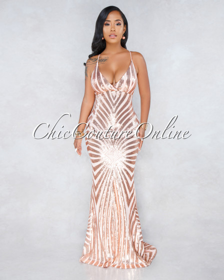 Monica Blush Rose Gold Sequins Mermaid Tail Maxi Dress