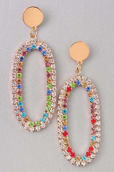 Cindi Oval Golden Multi Color Rhinestones Hoop Earrings