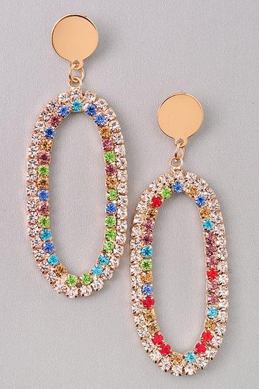 Cindi Oval Golden Multi Color Rhinestones Hoop Earrings