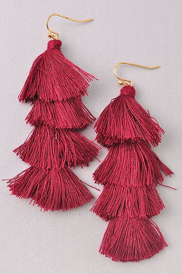 Sila Burgundy Red Long Tassel Earrings
