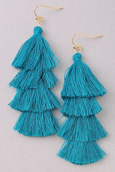 Sila Teal Blue Long Tassel Earrings