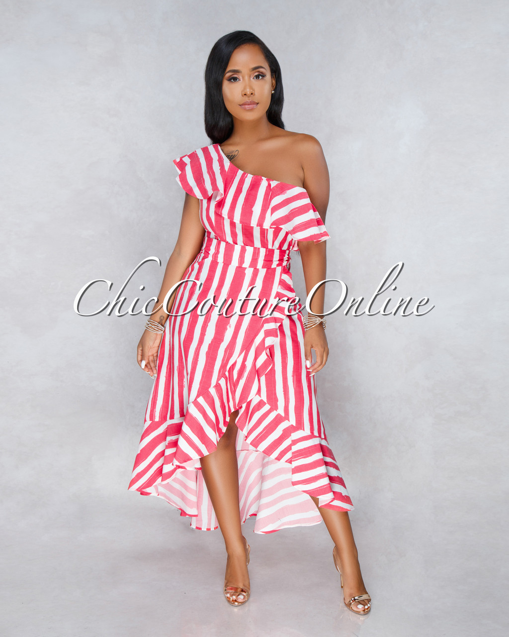 Sabrine White Red Stripes Ruffle High Low Dress