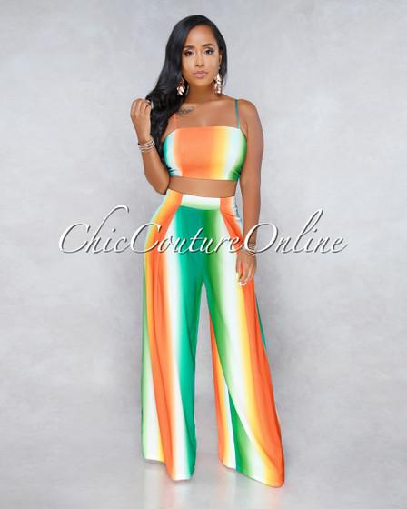 Patrice Orange Green Rainbow Two Piece Set