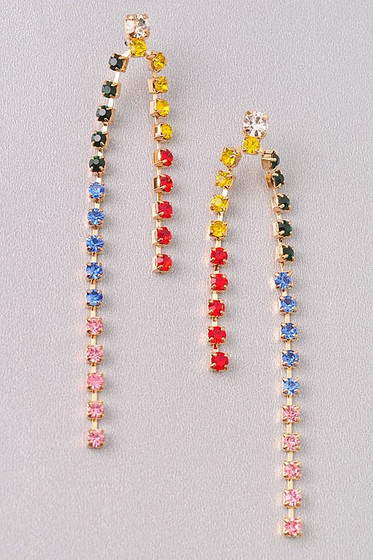 Bell Multi Color Rhinestines Dangle Earrings