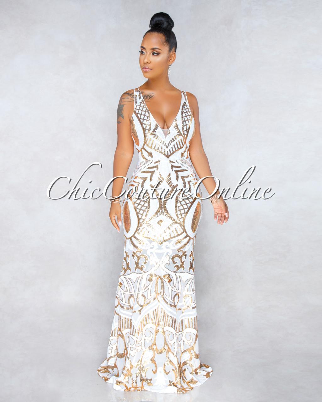 Maverick White Mesh Gold Sequin Embellished Maxi Dress
