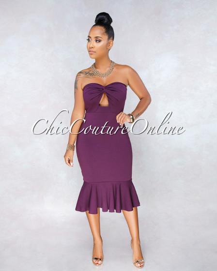 Tarik Purple Strapless Flutter Bottom Midi Dress