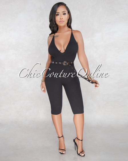 Salva Black Ribbed Gold Details Long Belt Romper