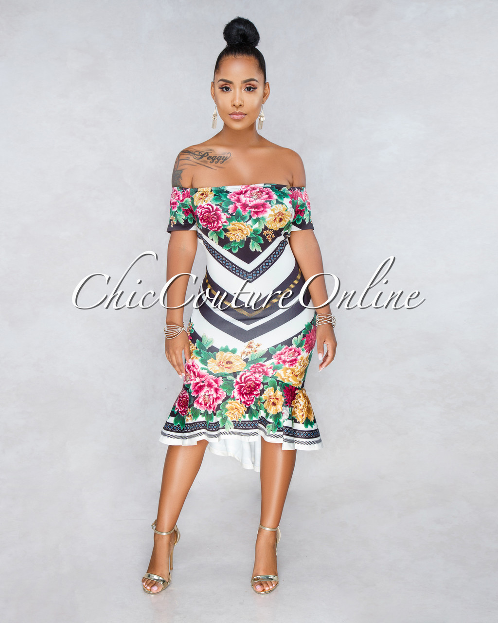 Demi Off White Black Stripes Floral Print High Low Dress