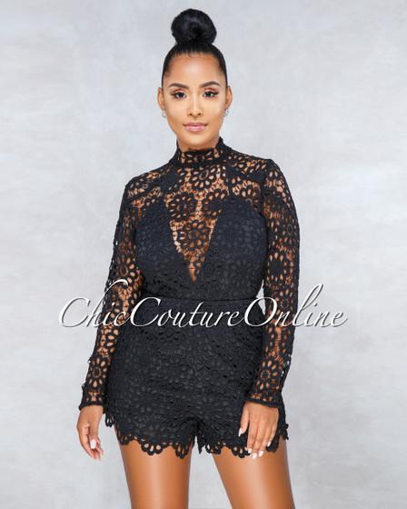Valery Black Crochet Overlay Long Sleeves Romper
