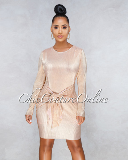 Vivienne Champagne Gold Front Knot Body-Con Dress