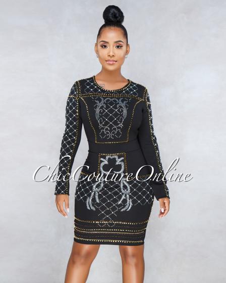 Michael Black Beads Embellishment Dress
