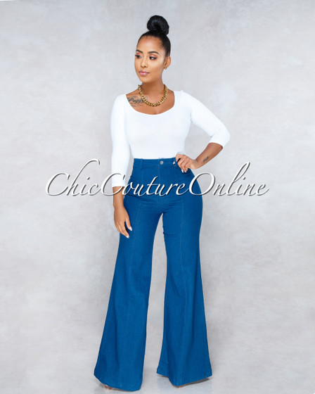 Sahana Blue Denim High Waist Wide Leg Pants