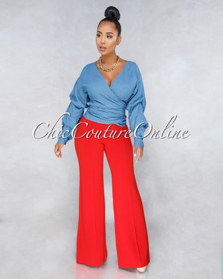 Yadira Red Wide Legs High Waist Pants