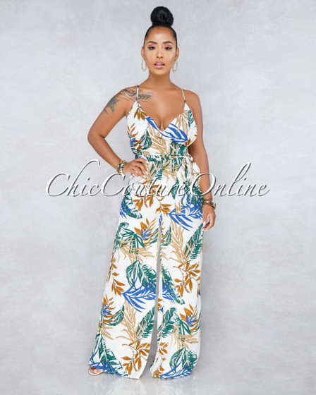 Ariadna Ivory Blue/Brown Leaf Print Jumpsuit