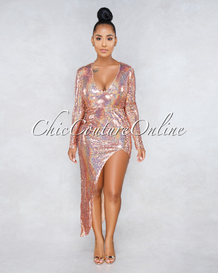 Eve Rose Gold Iridescent Sequins Asymmetrical Slit Dress