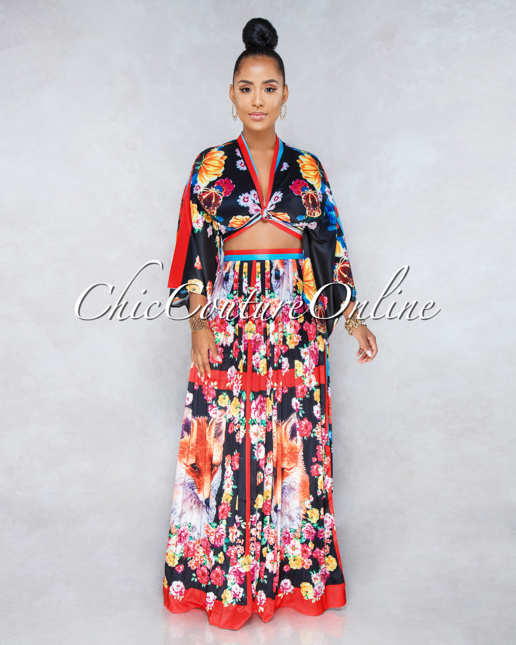 9fde1da9f417 Foxy Black Multi-Color Print Two Piece Pleated Skirt Set. Price: $85.00. or  4 interest-free installments of $21.25 by Afterpay ⓘ. Image 1