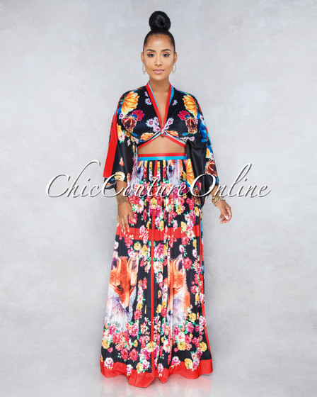 Foxy Black Multi-Color Print Two Piece Pleated Skirt Set