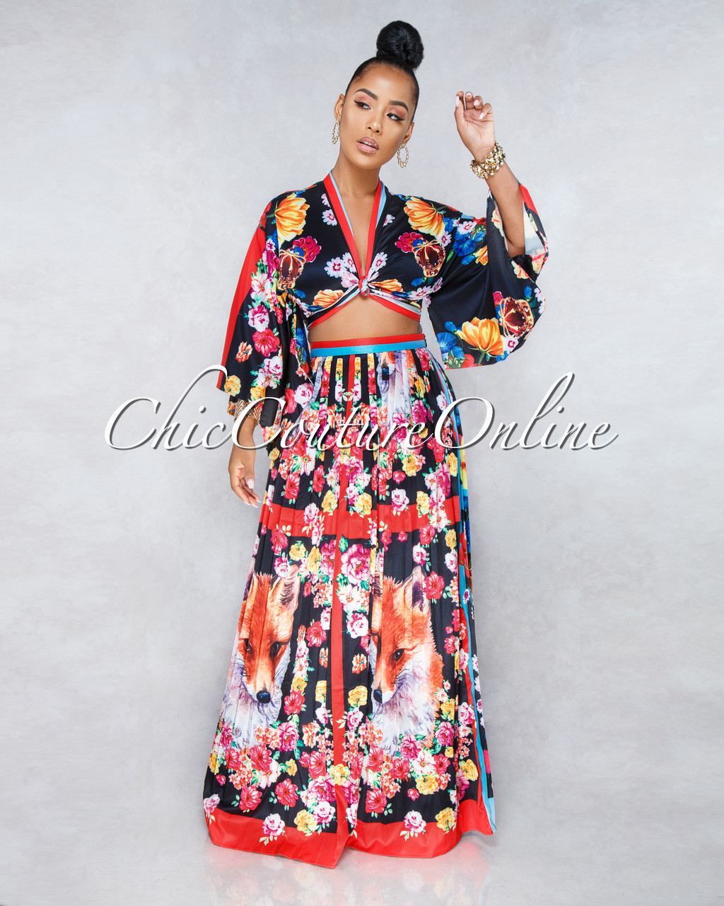 b3a328f7821b Foxy Black Multi-Color Print Two Piece Pleated Skirt Set. Price: $85.00. or  4 interest-free installments of $21.25 by Afterpay ⓘ. Image 1. Larger /  More ...