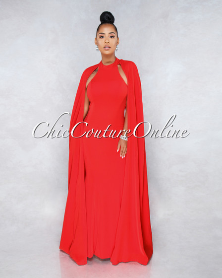 Sound Of Love Red Open Back Cape Gown