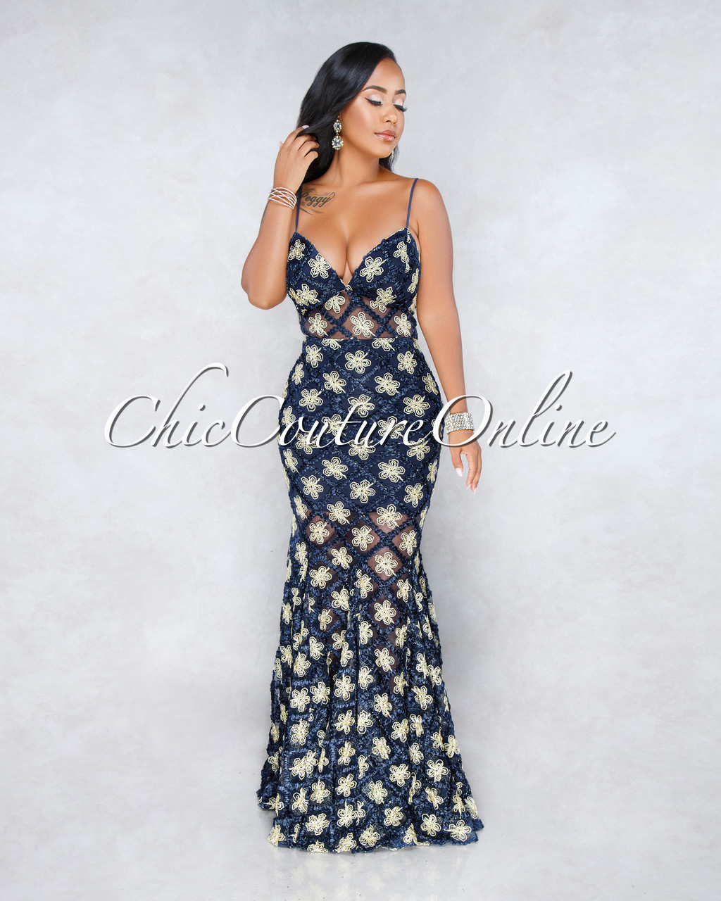 9a3b8ec5f6d13 Badell Navy Blue Gold Embroidery Mesh Mermaid Dress