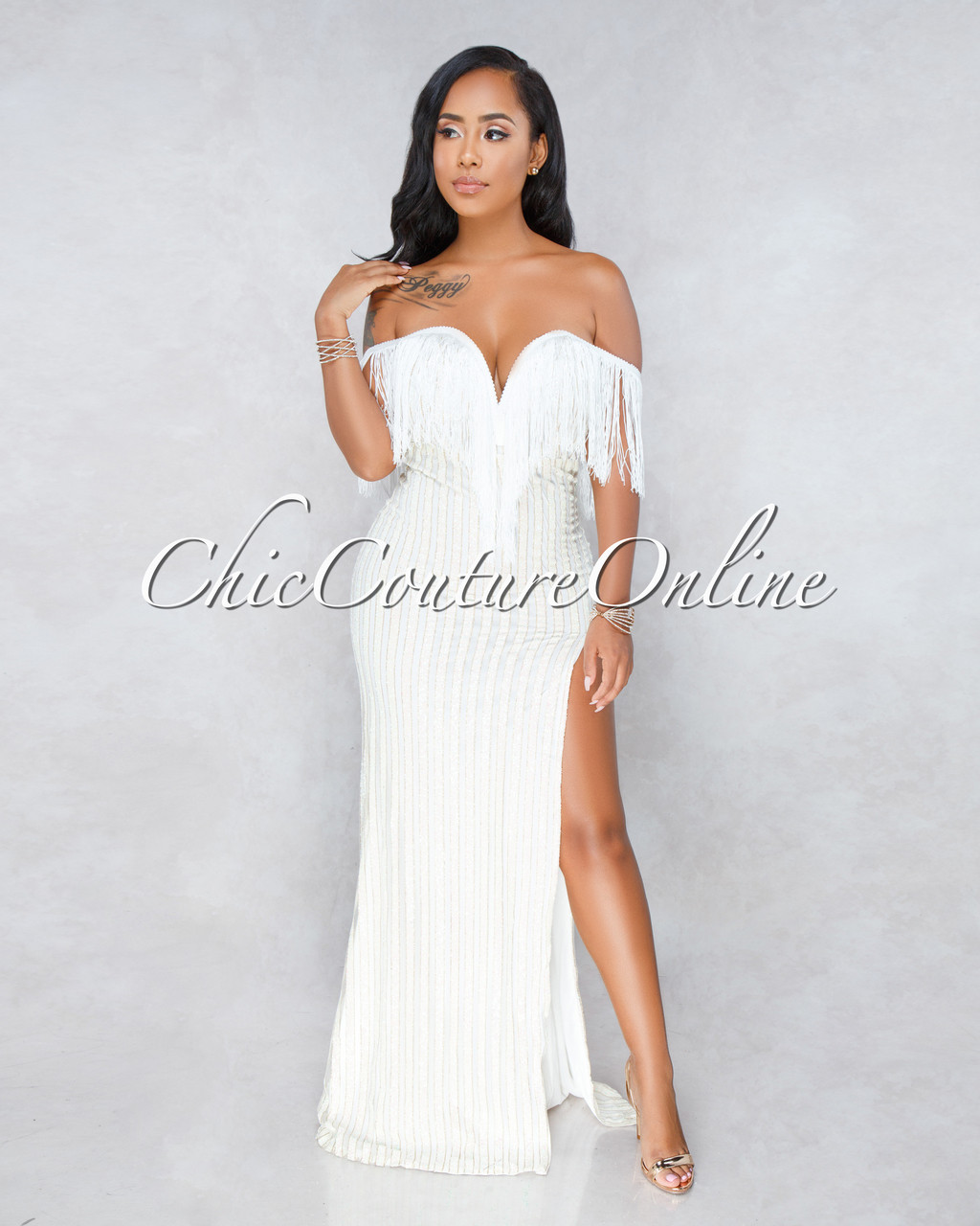 Vibra Off White Fringe Iridescent Slit Maxi Dress
