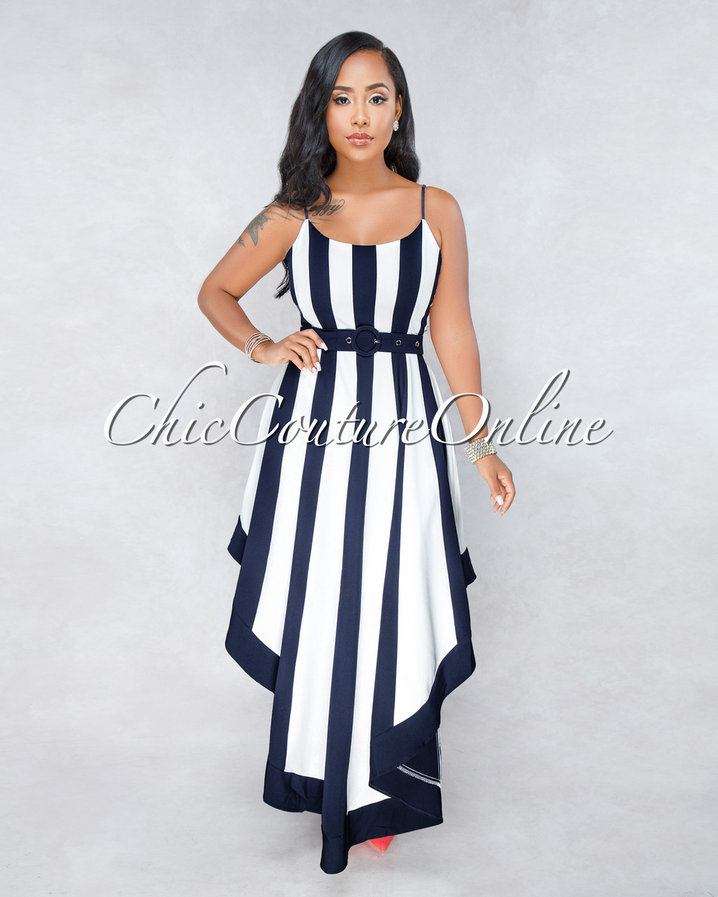 4667dbdecf26 Dalis Off-White Navy Blue Stripes High-Low Belt Dress