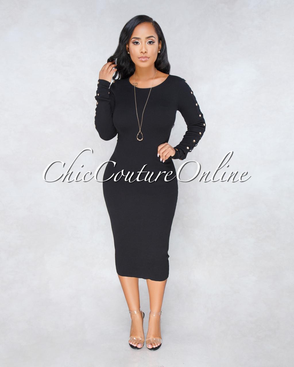 1c67dd15f09dd Jazly Black Knit Lattice Gold Buttons Sleeves Midi Dress. Price: $60.00.  Image 1