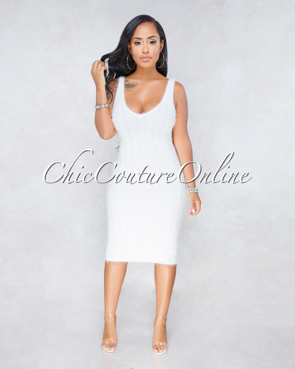 52eedf3a534 Adeline Off-White Ribbed Fuzzy Midi Dress. Price   45.00. Image 1