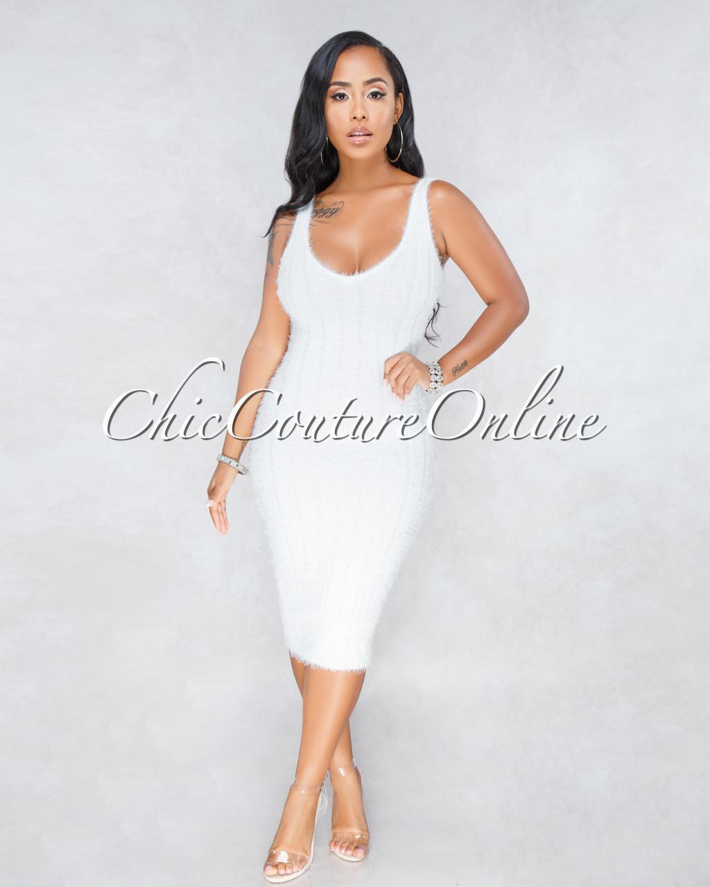 e45e52208e7 Adeline Off-White Ribbed Fuzzy Midi Dress. Price   45.00. Image 1. Larger    More Photos