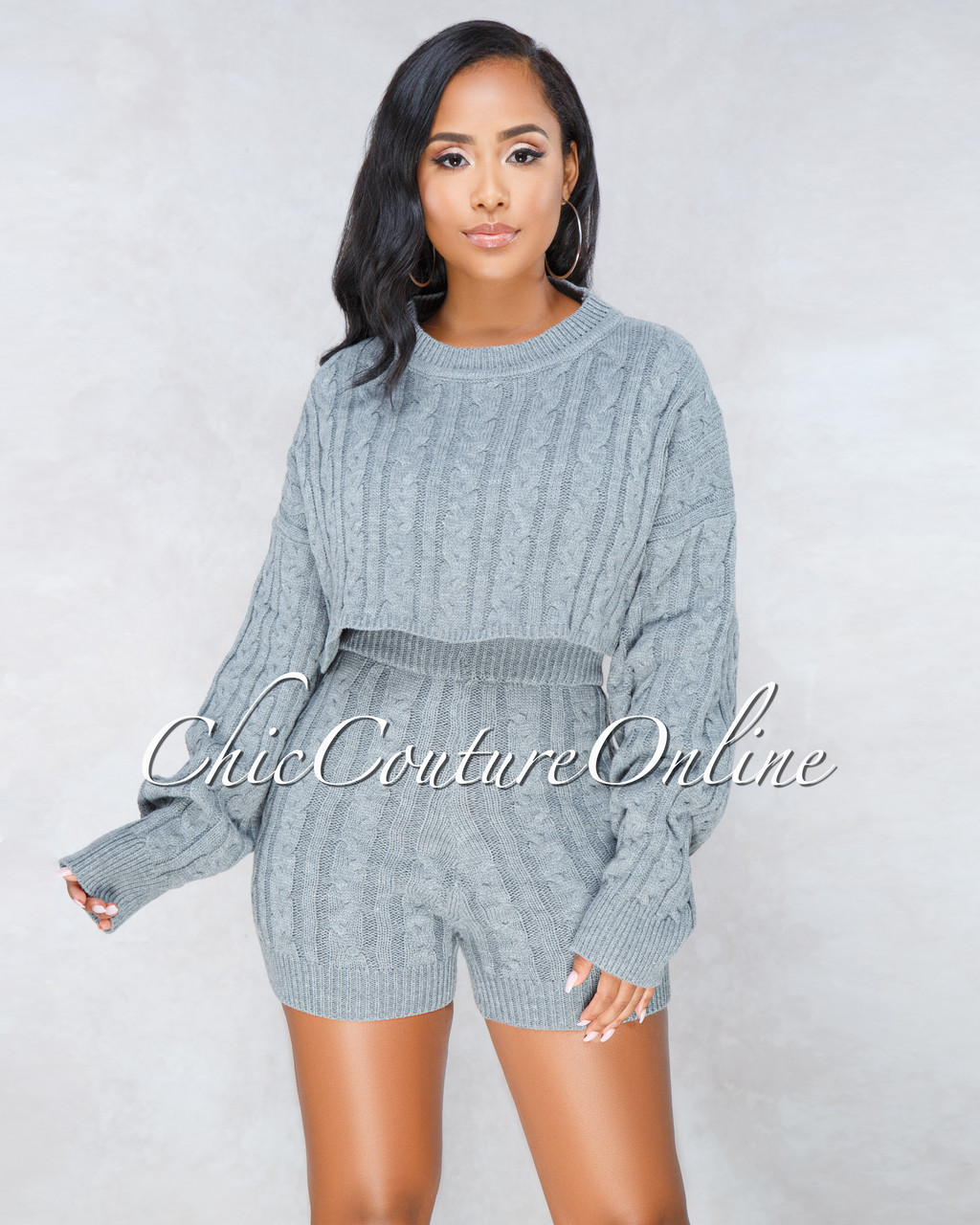 f63735d90 Samera Grey Cable Knit Sweater Shorts Two Piece Set. Price   60.00. Image 1