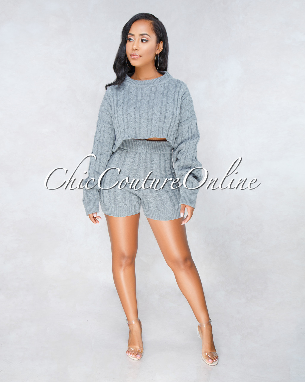 456963f1d Samera Grey Cable Knit Sweater Shorts Two Piece Set. Price   60.00. Image  1. Larger   More Photos