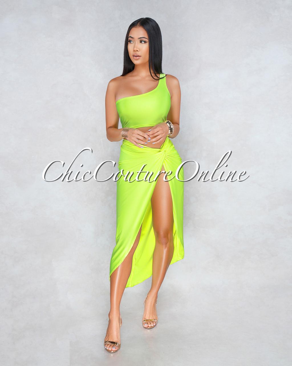0640844a8c5 KimMiami Neon Green Single Shoulder Two Piece Set