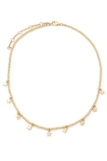 Kitty Golden Star Charm Choker Necklace