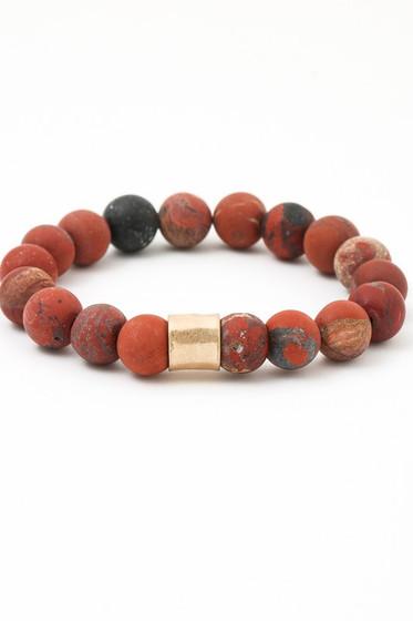 Peter Red Agate Beaded Bracelet
