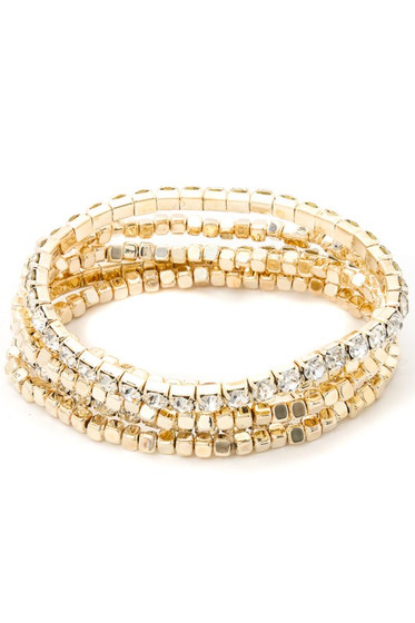 Kisha Golden Five Piece Beaded Rhinestone Bracelet