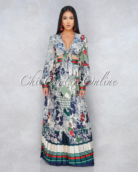 Portland Ivory Multi-Color Print Two Piece Skirt Set