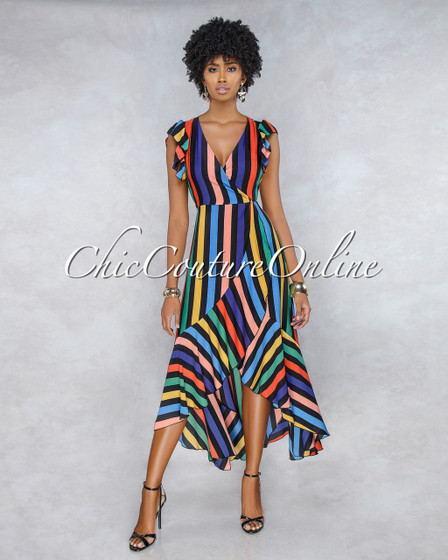 Karol Black Multi-Color Stripes Wrap Maxi Dress