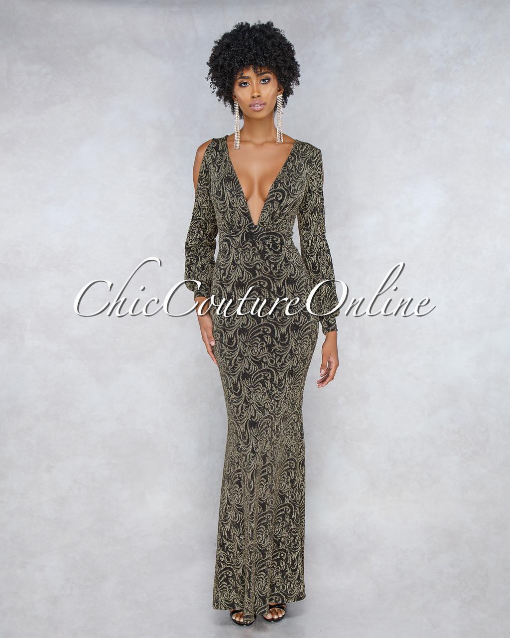 5791ba8c9bd8c Faraji Black Gold Shimmer Cold Shoulder Maxi Dress