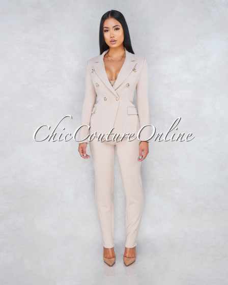 Sasia Nude Double Breast Jacket Two Piece Suit Set
