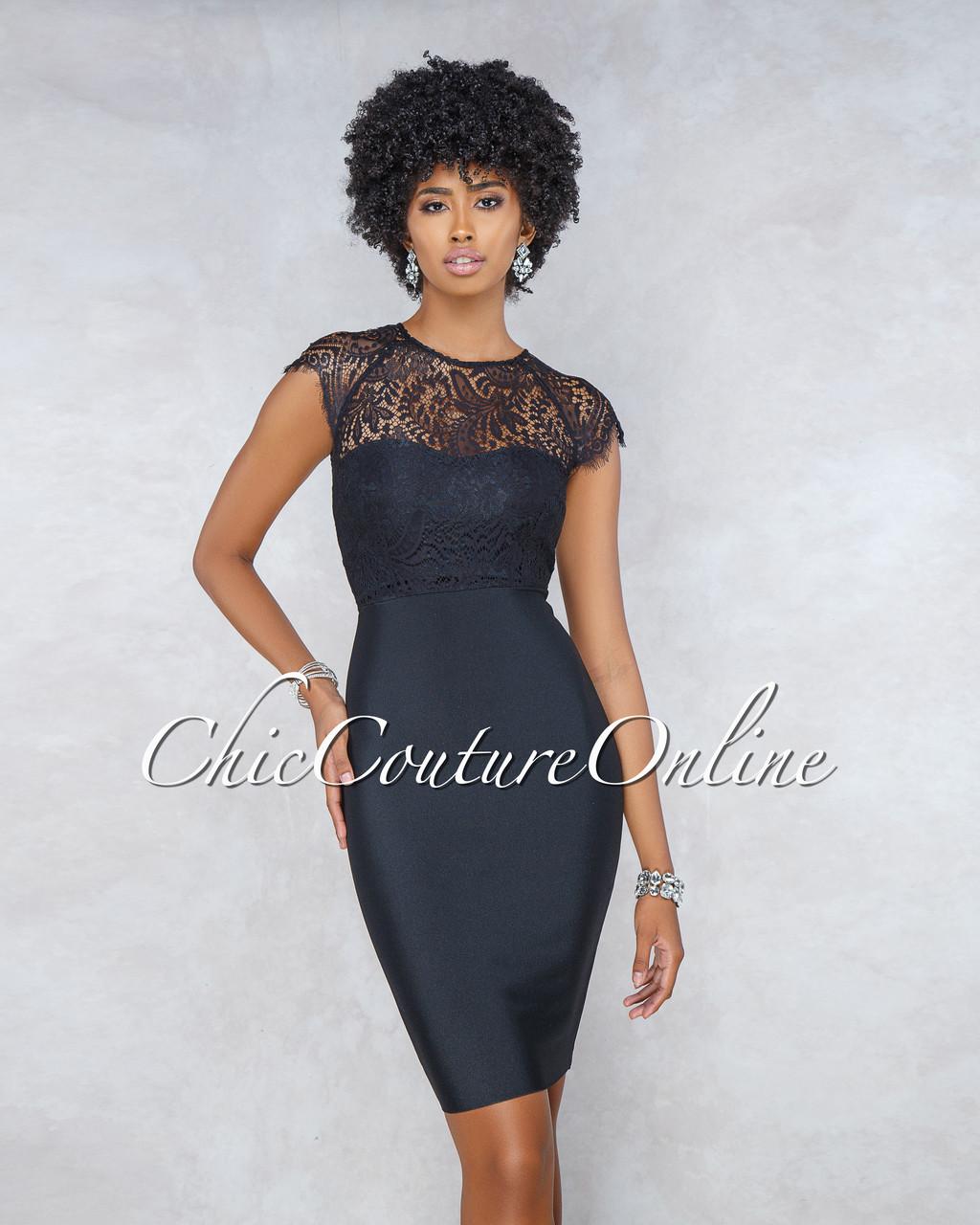 ae889a26d5ff Randie Black Lace Top Bandage Midi Dress. Price   90.00. Image 1