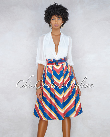 True Multi-Color Stripes Paper Bag Belted Skirt