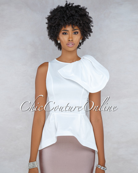 Bellisima Off-White Ruffle Accent Peplum High-Low Top